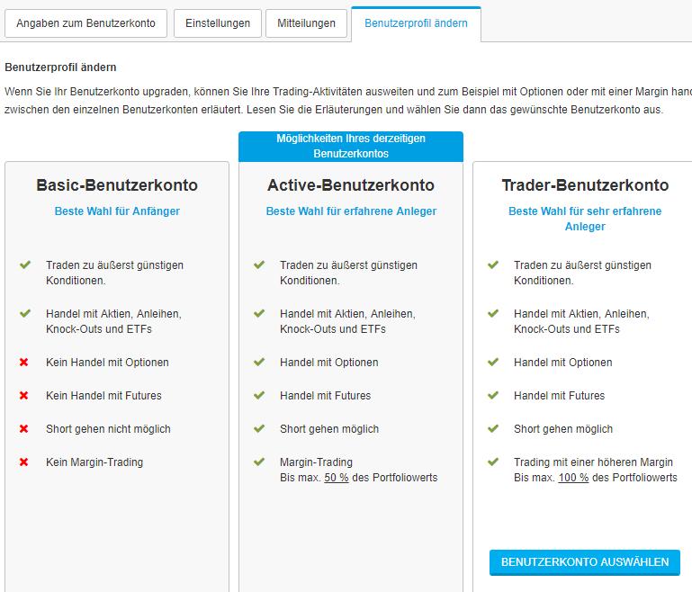 DeGiro Kontotypen - Benutzer Profil aendern