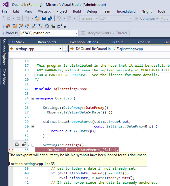 QuantLib Python - debugging C++ side with Visual Studio and